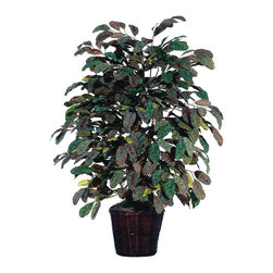 Vickerman - 4'  Frosted Apple Extra Full - 4' Frosted Apple Extra Full Bush on three or more Dragonwood trunks. Dark brown Rattan container. American made excelsior