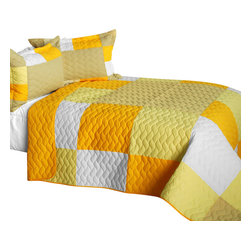 Blancho Bedding - [Gorgeous Sunshine] Cotton Vermicelli-Quilted Patchwork Plaid Quilt Set-Queen - The [Gorgeous Sunshine] Cotton Vermicelli-Quilted Patchwork Plaid Quilt Set-Queen includes a quilt and two quilted shams. This pretty quilt set is handmade and some quilting may be slightly curved. The pretty handmade quilt set make a stunning and warm gift for you and a loved one! For convenience, all bedding components are machine washable on cold in the gentle cycle and can be dried on low heat and will last for years. Intricate vermicelli quilting provides a rich surface texture. This vermicelli-quilted quilt set will refresh your bedroom decor instantly, create a cozy and inviting atmosphere and is sure to transform the look of your bedroom or guest room. (Dimensions: Full/Queen quilt: 90.5 inches x 90.5 inches; Standard sham: 24 inches x 33.8 inches)