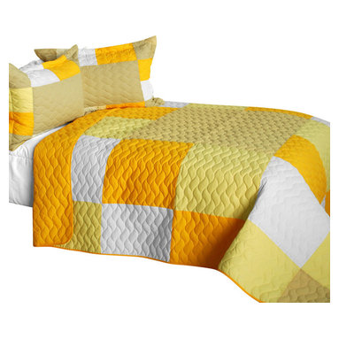 Blancho Bedding - Gorgeous Sunshine Cotton Vermicelli-Quilted Patchwork Plaid Quilt Set-Queen - The [Gorgeous Sunshine] Cotton Vermicelli-Quilted Patchwork Plaid Quilt Set-Queen includes a quilt and two quilted shams. This pretty quilt set is handmade and some quilting may be slightly curved. The pretty handmade quilt set make a stunning and warm gift for you and a loved one! For convenience, all bedding components are machine washable on cold in the gentle cycle and can be dried on low heat and will last for years. Intricate vermicelli quilting provides a rich surface texture. This vermicelli-quilted quilt set will refresh your bedroom decor instantly, create a cozy and inviting atmosphere and is sure to transform the look of your bedroom or guest room. (Dimensions: Full/Queen quilt: 90.5 inches x 90.5 inches; Standard sham: 24 inches x 33.8 inches)