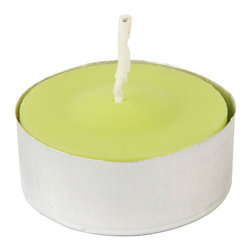 """Jeco - Lime Green Citronella Tealight Candles - 100pcs/Box - """"Traditionally, tealights were used as food warmers. However, tea lights now serve multiple purposes. Line them up at night to create a romantic walkway, or arrange them in tealight holders as a unique centerpiece to complement your dining experience. These tealight candles are hand poured in aluminum cups."""
