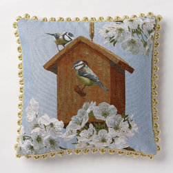 Corona Decor - Bird House Blossoms Pillow - -80% cotton 20% wool.  -Made in france.  -Finished with hand tied fringe in the USA.  -Zippered with poly inserts.   -Dry clean only.   Corona Decor - PF8719/L