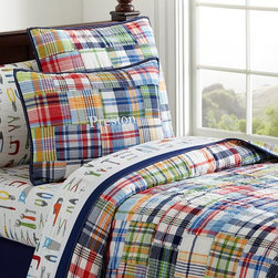 Madras Quilted Bedding - Inspired by shirting fabrics, our hand-quilted bedding is pieced with a variety of cotton plaids in asymmetrical patches for a handmade look.