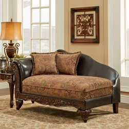 Chelsea Home - Chelsea Home Arlene Upholstered Chaise Multicolor - 726300-CH - Shop for Chaises from Hayneedle.com! The Chelsea Home Arlene Upholstered Chaise is an updated take on a traditional Victorian fainting couch. This luxurious chaise lounge is well-built with a hardwood frame and features ornately carved wood trim in a rich brown finish. The paisley fabric upholstery dresses the seat cushion and accent pillows. It comes in warm contemporary silas raisin and bi-cast brown. The cushion is high-density Dacron-wrapped foam. Luxurious dark brown leather graces the back of this chaise.About Chelsea Home FurnitureProviding home elegance in upholstery products such as recliners stationary upholstery leather and accent furniture including chairs chaises and benches is e most important part of Chelsea Home Furniture's operations. Bringing high quality classic and traditional designs that remain fresh for generations to customers' homes is no burden but a love for hospitality and home beauty. The majority of Chelsea Home Furniture's products are made in the USA while all are sought after throughout the industry and will remain a staple in home furnishings.