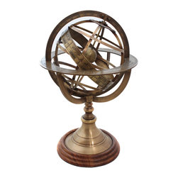 ecWorld - Engraved Brass Armillary Globe - Engraved brass tabletop globe is a must-have addition to any decor, Base is mounted on turned solid wood