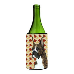 Caroline's Treasures - Boxer Brindle Fall Leaves Portrait Wine Bottle Koozie Hugger - Boxer Brindle Fall Leaves Portrait Wine Bottle Koozie Hugger Fits 750 ml. wine or other beverage bottles. Fits 24 oz. cans or pint bottles. Great collapsible koozie for large cans of beer, Energy Drinks or large Iced Tea beverages. Great to keep track of your beverage and add a bit of flair to a gathering. Wash the hugger in your washing machine. Design will not come off.
