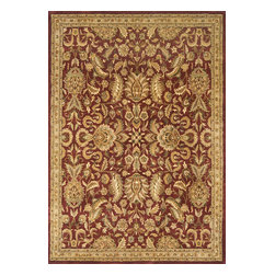 "Momeni - Momeni Mahal Garnet Red Flowers Traditional 2' x 3' Rug by RugLots - Mahal is hand-tufted in India from fine wool. These beautiful reproductions of traditional Persian designs are hand tufted and washed in our special ""luster wash"", which enhances the colors and gives the patina an exceptional sheen."