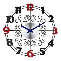 Modway - Spiral Wall Clock in Silver - Strategic moves jump forward in this alternating black and red playful clock. Game pieces dual in a fast-paced dance as tight whorls revolve within an outer rim to portray the mutual pursuit of leisure. Brighten up your room with a metal clock that positively interacts and accommodates your surroundings.