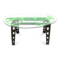 Gagan Design - C45 Expeditor Vintage Airplane Rudder Desk/Table - The C45 Expeditor rudder makes an impressive desk. All old paint stripped off and gave way to fresh zesty military'ish green. Custom cut glass top and industrial aviation style legs make this desk very unique and a great place for your ideas to take flight.