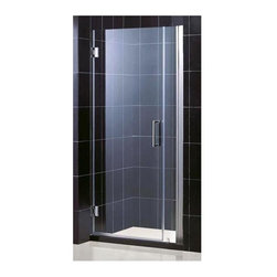 Dreamline - Unidoor Adjustable Shower Door (25 in. Door Opening in Brushed Nickel) - Color: 25 in. Door Opening in Brushed Nickel. Includes 6 in. stationary glass panel. Base not included. Self-closing solid brass wall mounted hinges. Wall profile adjustable upto 1 in.. Reversible glass door for left or right-wall installations. On-site adjustment for out-of-plumb or general door rough opening upto 1 in.. ANSI certified. Made from 0.38 in. thick clear glass and aluminum. 25 in. door opening: 31 - 32 in. W x 72 in. H. 26 in. door opening: 32 - 33 in. W x 72 in. H. 27 in. door opening: 33 - 34 in. W x 72 in. H. Warranty. Installation Manual. Marketing Brochure. 25 in. Technical Drawing. 26 in. Technical Drawing. 27 in. Technical DrawingUnidoor is the only door you will ever need to complete an unforgettable design of your shower project. The smart design of the adjustable wall profile.