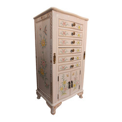 "White 39"" H. Oriental Jewelry Armoire - Dazzling Oriental jewelry armoire in solid Philippine mahogany. This fashionable piece has six felt lined drawers with compartments for rings and other trinkets. Also includes four doors and lift top that reveals a convenient vanity mirror. Felt lined side doors include necklace hangers. hand painted bird and flower design features an alluring bird and flower pattern. Diligently hand finished in glistening white lacquer. A perfect addition to your bedroom decor. Functional and stylish. Browse our collection of fine Oriental lacquerware for still more ideas. Add a second piece to your order. Buy now because unique Asian pieces like this one sell quickly."