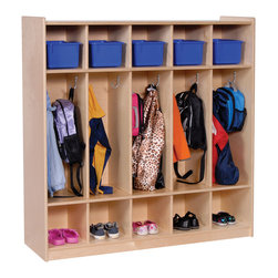 """Steffywood - Steffywood Kids Storage Toy Books Bag Coat Hooks Five Section Locker - Ten section locker has storage above and below center section and has ten coat hooks.  Center section is 9"""" wide x 26"""" high.  Top and bottom storage sections are 9"""" high  x 9"""" wide center is 26"""" high."""