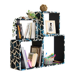 Blancho Bedding - [Blue Giraffe] Square Leather Wall Shelf / Bookshelf / Floating Shelf (Set of 4) - These rounded corner wall cube shelves add a new and refreshing element to your room and can be easily combined with other pieces to create a customized wall space. Coming in various colors and sizes, they spice up your home's decor, add versatility, and create a whole new range of storage spaces. You can hang them on the wall, or have them stand on table or floor, any way you like. Fashion forward design has never been so functional. This range of faux leather storage cubes is sure to delight! Perfect for wall mounting, these modern display floating shelves are sure to delight. Constructed from MDF with a top faux leather wrapping. Easy to mount, easy to love! Attractive shelf boxes give any wall in your home a striking appearance. Arrange in whatever fashion you like - whether it be grouped together or displayed separately. Each box serves as a practical shelf, as well as a great wall decoration.