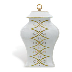 Port 68 - Zelda Temple Jar - A striking complement to any traditional home d�cor, the Zelda Temple Jar features a unique olive and brass pattern on an antiqued cream background with a crackle finish. The brass finial at the top of the jar completes the piece. Pair it with fresh flowers or place it on a table as a stand-alone piece.