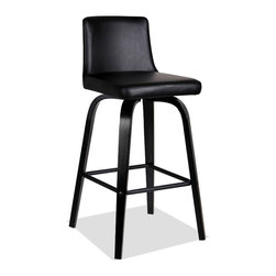 """Leick Furniture - Upholstered Black Over Black Counter Height Stool - Set of 2 - Bent plywood legs offer a broad, sturdy base on these edgy black over black counter stools. The seat and back are padded for comfort and upholstered in an Ebony faux leather. Padded and upholstered seat and back; Solid hardwood construction; Black over black finish; Counter height--24"""" seat; Simple Assembly in minutes; Pebble texture Black faux leather; Favorite Finds Collection; Material: Solid hardwood/PVC; Weight: 22 lbs; Dimensions: 18""""L x 15""""W x 33""""H"""
