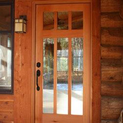 Custom Doors - Custom entrance door to a sun room, made of recovered cvg douglas fir