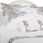"""Lily 7 Piece Duvet Cover Set, King - This Duvet Cover Set features an eclectic look. The abstract line patterns add a modern yet simple appeal to any bedroom. Set includes one duvet cover 106""""x92"""", two pillow shams 20""""x36"""" each, two euro shams 26""""x26"""" each, and two breakfast pillows 12""""x18""""."""