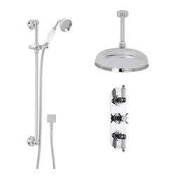 "Hudson Reed - Beaumont Chrome & Ceramic Shower System Set - 12"" Apron Ceiling Head & Handspray - Add traditional elegance to your bathroom with the Beaumont thermostatic shower system from Hudson Reed. Providing a refreshing showering experience, this shower kit comes complete with the triple thermostatic shower valve, 12"" apron shower head with arm and the slide rail kit with handset. Supplying water at a pre-set maximum temperature, the durable shower valve features a built-in anti-scald device for total peace of mind. Made in Great Britain, the shower valve also incorporates ceramic disc technology for smooth and precise control."