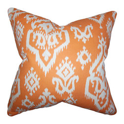 The Pillow Collection - Ife Orange 18 x 18 Ikat Throw Pillow - - Pillows have hidden zippers for easy removal and cleaning  - Reversible pillow with same fabric on both sides  - Comes standard with a 5/95 feather blend pillow insert  - All four sides have a clean knife-edge finish  - Pillow insert is 19 x 19 to ensure a tight and generous fit  - Cover and insert made in the USA  - Spot clean and Dry cleaning recommended  - Fill Material: 5/95 down feather blend The Pillow Collection - P19-PP-RAJI-APPACHEORANGE-MAAC