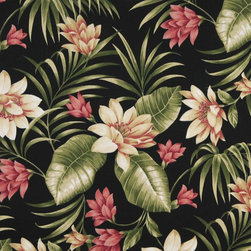 Black Pink And Green Floral Outdoor Indoor Marine Upholstery Fabric By The Yard - This upholstery grade fabric can be used for all indoor and outdoor applications. It is Scotchgarded, and is mildew, fade, water, and bacteria resistant. This fabric is made in America!