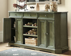 Ballard Designs - Grandezza Console - The addition of a console or buffet table can be a great way to store extra dishes while giving you more room to place accessories like picture frames and candles. I like this buffet from Ballard Designs because it's a gorgeous color and will provide much-needed storage in your space.