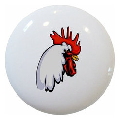 Carolina Hardware and Decor, LLC - Rooster Head Ceramic Knob - New 1 1/2 inch ceramic cabinet, drawer, or furniture knob with mounting hardware included. Also works great in a bathroom or on bi-fold closet doors (may require longer screws). Item can be wiped clean with a soft damp cloth. Great addition and nice finishing touch to any room!