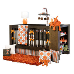 Glenna Jean - Echo Baby Crib Bedding Set - Bring your nursery to life with calming shades of tangerine, taupe and  warm gray.  The Echo Baby Crib Bedding Set by Sweet Potato creates a soothing space for baby with fun colors and  bold patterns.  Fabrics include soft velvets and knits for extra  comfort.  Modern design is trimmed with charcoal piping.