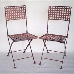 Fleur-de-Lis Flea Finds ~ Chairs - Pair of Vintage Folding Metal Bistro Chairs - Primed