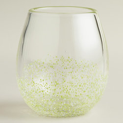 Green Confetti Stemless Wine Glasses, Set of 4 - Wineglasses that do double duty are always a plus for the bar. These stemless options with a fun confetti embellishment work not only for vino, but also for cocktails.