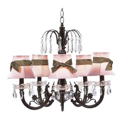 Jubilee Collection - Waterfall Mocha Five-Light Chandelier with Plain Pink with Sash Chandelier Shade - Gushing with beauty! This mocha 5-Arm chandelier has an intricate center that culminates in a waterfall of u-drop crystals. Crystal bobeches lined with tear-drop crystals encircle each arm. It is dressed in the plain pink chandelier shade with brown sashes. Jubilee Collection - 7043-2412-309