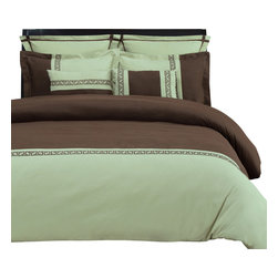 "Emma 7 Piece Duvet Cover Set - Full/Queen - Sage/Chocolate - The Emma Duvet Cover Set is a great addition to any bedroom. Featuring an embroidered Greek key design and wrinkle resistant microfiber fabric this duvet adds a bold new look to any bedroom. Each Set includes one Duvet cover 90x92"", two Pillow Shams 20x26"", two Euro Shams 26x26"", and two Breakfast Pillows 12x18""."