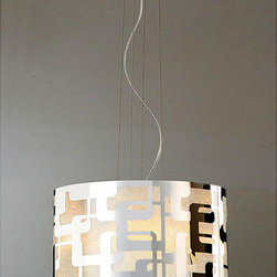 None - Carved 3-light Stainless Shade Chandelier - The brilliant modernist design of this carved three-light chandelier will illuminate your living space with style. A daring geometric external pattern is lit up by the reflective chrome interior and will draw notice with any home decor.