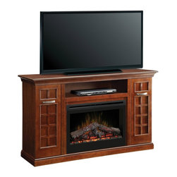 """ClassicFlame - Dimplex Yardley Walnut Electric Fireplace Mantel w/ Logs - GDS33-1304CH - The Yardley Electric Fireplace Media Package GDS33-1304CH offers supplemental heat for up to 400 square feet and can be operated with or without heat. The brushed nickel hardware complements the rich walnut finish. The GDS33-1304CH fireplace features a 33"""" firebox with glowing logs, multi-function remote control, and a 5 year limited warranty."""