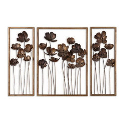 Uttermost - Uttermost 12785  Metal Tulips Wall Art Set/3 - This set of decorative wall art is made of hand forged metal finished in antiqued gold leaf with a charcoal gray wash. sizes: sm-10x27x4, lg-20x27x4
