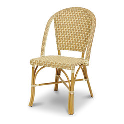 Palecek - Paris Bistro Metal Chair - Steel frame. Seat and back woven with high-quality UV resistant plastic. Suitable for indoor and outdoor use.