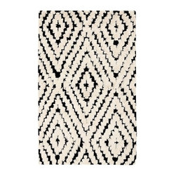 Kaleidoscope Kilim Rug, Black/Ivory - This graphic pattern works well with the crib bedding, and the rug looks incredibly soft for hours of playing with toys and reading books.