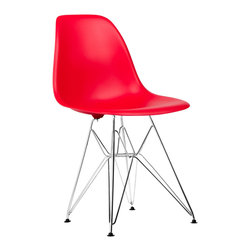 Eiffel Slope Chair in Red - Our Eiffel Slope Chair is inspired by an iconic design of the 1950s and 1960s. The original was born out of technological advancements that allowed a chair to be constructed out of a single mold of fiberglass. With the original mold no longer in production, today's designers have improved this process even further, resulting in a comfortable, stylish, lightweight chair. Replacing fiberglass with more eco-friendly polypropylene, the current iteration is as innovative as it is timeless. The base is made of chromed steel and resembles the structure of the famed Eiffel Tower. Our Eiffel Slope Chair takes this incredible design and makes it accessible and modern, featuring a smooth polypropylene seat that contours to your body. This chair is also one of our most versatile pieces, fitting in at the dinner table, conference table, or anywhere else you're looking to add some seating.