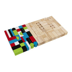 KidKraft - Wooden Block Set, 100 Pieces Set by Kidkraft - Playing with our Wooden Block Set helps kids work on shape recognition and hand-eye coordination. There are 100 total pieces in this adorable set, available in all sorts of different shapes and sizes.