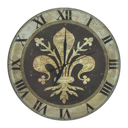Zeckos - Vintage Look Metal Fleur de Lis Clock 12 in. Diameter - This metal wall clock has a wonderfully weathered, vintage look to it. It measures 12 inches in diameter and features an image of a fleur de lis in the center, surrounded by Roman numerals to mark the time. The clock runs on 1 AA battery (not included), and features quartz movement. It makes a great gift for a friend, and is sure to be admired.
