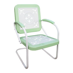 4D Concepts - 4D Concepts Metal Chair Retro in Lime & White Metal - This retro outdoor chair is great for all of your outdoor needs.  The seats and backrests are trimmed in a vibrant shade of vintage lime to give this set a little fun.  The decorative cutout design makes this chair a very stylish and sophisticated look.  The metal arms with lime metal capped armrest are a finishing touch to an outstanding chair.  The metal is finished in a rich powder coated paint making it great for that special patio or outdoor area. Clean with a dry non abrasive cloth.   Assembly required.