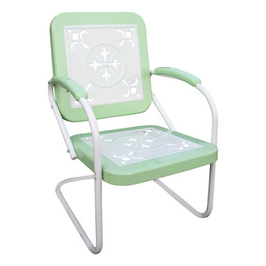4D Concepts - 4D Concepts Metal Chair Retro in Lime and White Metal - This retro outdoor chair is great for all of your outdoor needs. The seats and backrests are trimmed in a vibrant shade of vintage lime to give this set a little fun. The decorative cutout design makes this chair a very stylish and sophisticated look. The metal arms with lime metal capped armrest are a finishing touch to an outstanding chair. The metal is finished in a rich powder coated paint making it great for that special patio or outdoor area. Clean with a dry non abrasive cloth. Assembly required.