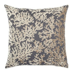 """Z Gallerie - Corales Pillow 24"""" - Textural and supremely soft, our reversible velvet Corales Pillows infuse your decor with an interpretive sea inspired motif.  Visually stunning, our Corales Pillow boasts two distinctly different graphic patterns, one on either side, making for endless versatility and effortless layering. One side of the pillow offers a linear brick pattern, while the opposite side features a coral motif.  The generously sized 24 inch square pillow is filled with a sumptuous feather and down insert and a hidden zipper. Available in four distinct colors, Mandarin, Light Grey, Sapphire or Gold."""