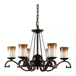 ParrotUncle - 6 Lights Glass Candle Dining Room Iron Chandelier - Antique and elegant, this chandelier is an eye-catching addition to your living space. This candelabrum style chandelier features a solid black iron frame and artistically curving arms holding 6 attractive glass shades shaped like candles. It casts a warm and welcoming glow when illuminated, a perfect choice for style, ambient and comfort.