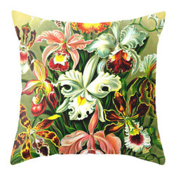 Pictorial History Decor - Vintage style floral throw pillow, 18 x 18 with faux down insert - This colorful floral pillow was made from a vintage scientific illustration. It is constructive of upholstery grade fabric and is machine washable. It is a generous 18 x 18 size and is perfect for any home decor style. Bright and colorful!
