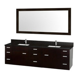 "Modern Bathroom - Encore 78"" Double Bathroom Vanity Set - Espresso with Black Granite Countertop - Featured in the CG Collection by Christopher Grubb, the Encore 78"" Double Bathroom Vanity combines clean modern design, natural solid granite, and the open spacious feeling of a wall-mount double vanity. Nine drawers and two large doors are all built with soft-close hinges and slides and provide abundant storage. Choose beautiful Black Granite or completely customize it with your perfect CaesarStone counter. This vanity can be mounted to your perfect height because of the variable wall-mount design. And finally the 70"" Accara Mirror is included for an appealing set. Available in multiple sizes and options. FeaturesConstructed of beautiful veneers over the highest grade MDF8-stage preparation, veneering and finishing processWater-resistant sealed finishCutting edge, unique styling by Interior Designer Christopher GrubbModern Wall-Mount DesignMinimal assembly requiredFully-extending under-mount soft-close drawer slidesConcealed soft-close door hingesCounter options include Black Granite and CaesarStone (many colors available)Includes 4"" backsplashAvailable with Porcelain undermount sinks Square Sink Shape Includes single hole faucet mount Faucet not includedMatching mirror includedMetal exterior hardware with brushed chrome finish Two (2) functional doors Nine (9) functional drawers Plenty of storage space Plenty of counter space Includes drain assemblies and P-traps for easy assembly Variations in the shading and grain of our natural stone products enhance the individuality of your vanity and ensure that it will be truly unique How to handle your counter Spec SheetSpec Sheet for Claire Rotating Wall Cabinet with mirror (WC-B802) Spec Sheet for Sarah Storage Cabinet (WC-B803) Spec Sheet for Accara Bathroom Wall Cabinet (WC-B805) Spec Sheet for Maria Bathroom Wall Cabinet (WC-B807) "" target=""_blank"" class=""pdf"">Installation Instructions -->Please note that all custom natural stone and Caesarstone counters are proudly manufactured in the USA specifically for your order, and so require at least 4 weeks manufacturing time. Caesarstone Carbone, Starry Night, Spring Blossom, and Marrone are made from recycled content. Quartz Reflections and Ruby Reflections colors are made with up to 35% post-consumer recycled glass. Chocolate Truffle color is made with up to 17% post-consumer recycled glass. Natural stone like marble and granite, while otherwise durable, are vulnerable to staining from hair dye, ink, tea, coffee, oily materials such as hand cream or milk, and can be etched by acidic substances such as alcohol and soft drinks. Please protect your countertop and/or sink by avoiding contact with these substances. For more information, please review our ""Marble & Granite Care"" guide."