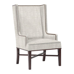 Kathy Kuo Home - Jacqueline Hostess Wing Back Occasional Dining Arm Chair - When it comes to your dining room, you don't have to stick with the same old, same old. Let your design fancy take flight with this updated wingback chair in a misty Belgian linen that's engineered for exceptional support and comfort. A pair of these would hit the nailhead trim on the head at either end of a rectangular table.