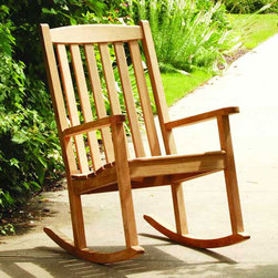 Bambeco Manchester Rocker - Relax outdoors and enjoy all that nature has to offer in this sustainable teak rocker, made from responsibly harvested and carefully managed teak forests. Assembly required.Dimensions: 25.75 W x 40.75H x 35D, 19H (seat), 26H (arm).  Furniture typically ships within 48 hours.