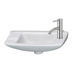 Alfi brand - Small Porcelain Wall Mount Basin - No overflow. Basin only.  Fixture not included.. Outer Dimensions: 17 1/3in. x 8in. x 5 1/2in.. Inside Dimensions: 10 1/4in. x 6in. x 6in.Small ceramic wall mounted bathroom basin/sink. A simple yet elegant design never goes out of style.