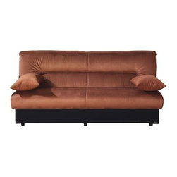 Istikbal Regatta Rainbow Brown Microsuede Convertible Sofa - Turn your extra bedroom or office into a welcoming retreat for guests with the Sunset International Trade Regata Convertible Sofa Rainbow Brown. This multifunctional sofa provides comfortable additional seating when closed and converts in seconds to a full-size mattress with plenty of room to stretch out. The armless design maximizes the sleeping space while cozy accent pillows serve double duty as armrests and bed pillows. The luxurious brown microsuede upholstery is warm and neutral and a horizontal tuck visually lengthens this spacious sofa. A sophisticated black base creates an interesting visual effect. The seat lifts up to reveal a spacious divided storage compartment for keeping blankets and bedding conveniently nearby. *This product meets California Regulations for US Flammability Standards. All mattresses are FR 1633 Compliant. About Sunset International Trade LLCIn 2001 Sunset International Trade LLC was established to provide value-based high quality home furnishings for the US market. Their Istikbal Click-Clack convertible sofa sleepers combine style versatility and extra storage space making them the ideal spare bed for any household. The Paterson New Jersey-based company operates a 31 500-square-foot warehouse and employs a fleet of delivery trucks to ensure speedy efficient service.