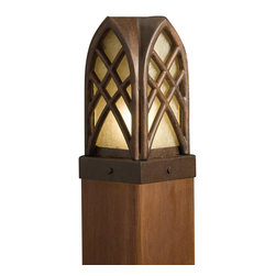 LANDSCAPE - LANDSCAPE Cathedral Post Light X-TZT97451 - Inspired by cathedral windows, this Kichler Lighting outdoor deck light is designed specifically to crown deck posts. It features an elegant Textured Tannery Bronze finish and complimentary dark citrine glass shade.