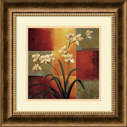 "Amanti Art - ""White Orchid"" Framed Print by Jill Deveraux - Your friends may think you heisted this piece from a museum when they see the gorgeous framed fine art on your wall. The attention-getting combination of artist Jill Deveraux's immense talent custom framed in burnished bronze will wow them all."